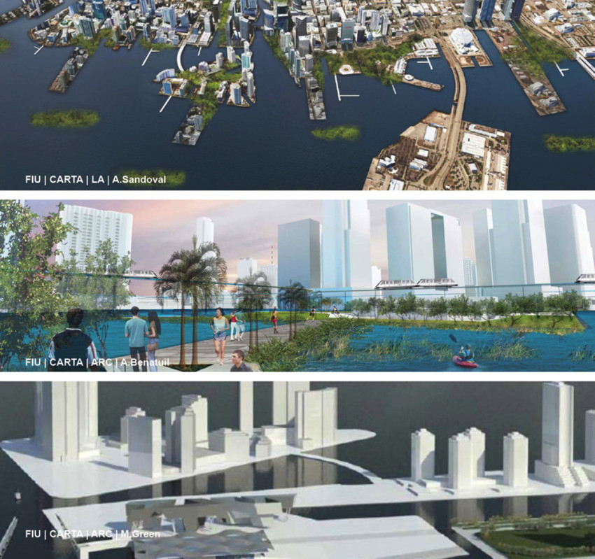 Student renderingsfor sea-level rise in Greater Miami from the exhibit Miami 2100 at the Coral Gables Museum