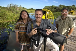 Cesar Becerra, Ron Magill and Houston Cypress in the Everglades on Sunday, August 16, 2015.