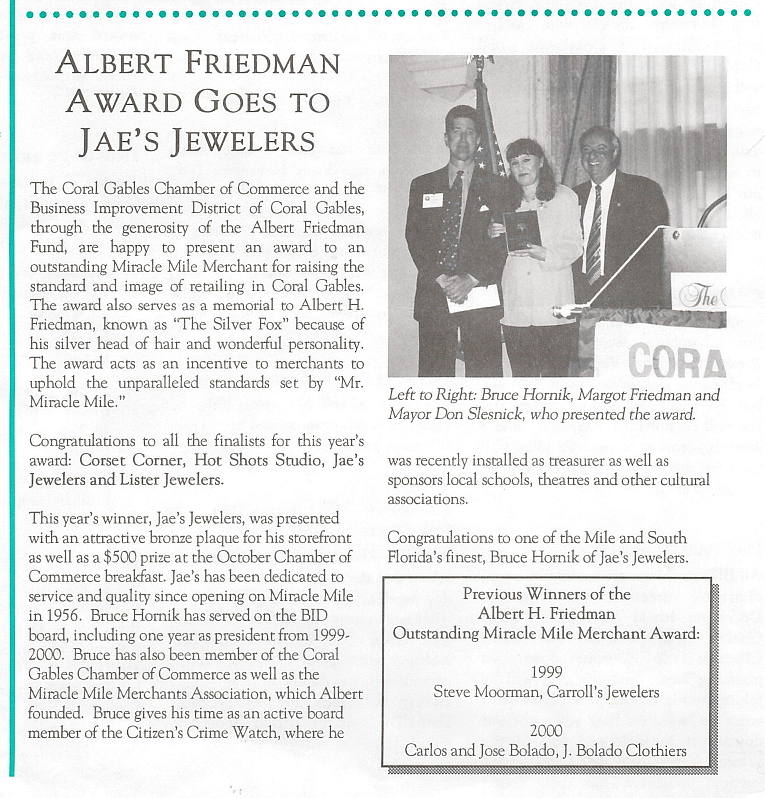 Albert Friedman Awards goes to Jae's Jewelers