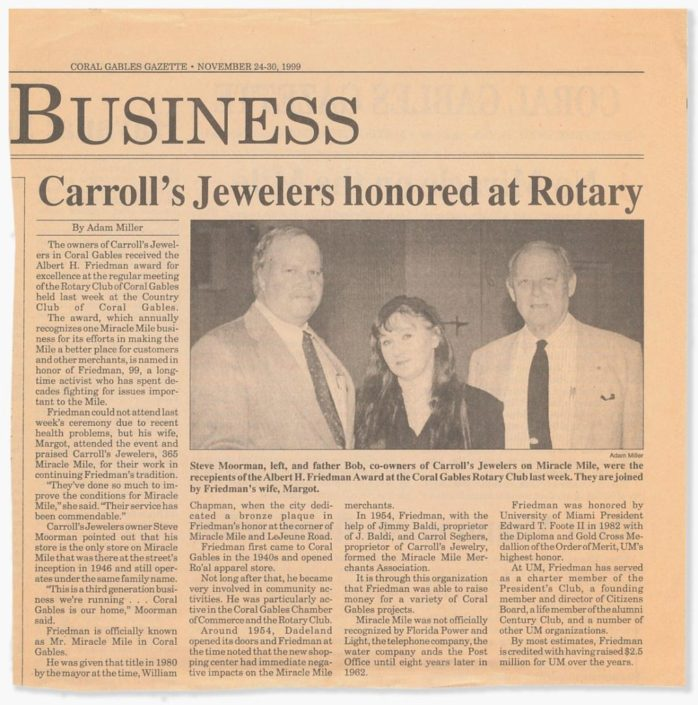 Article in the Coral Gables Gazette honoring Carroll's-Jeweler-for receiving the Albert Friedman Award, 2001. Courtesy of Margot B. Friedman.