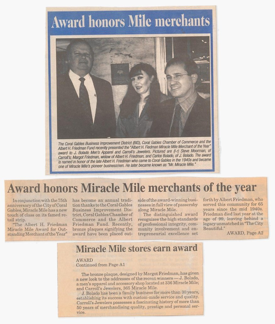 Carroll's Jewelers receiving the Albert Friedman Award, 1999. Courtesy of Margot B. Friedman.