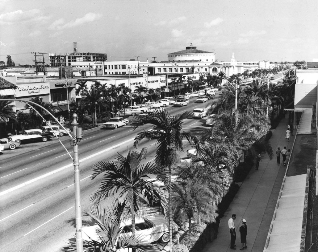 View of Miracle Mile looking east, circa late 1950s - early 1960s. Image courtesy of Coral Gables Historical Resources.