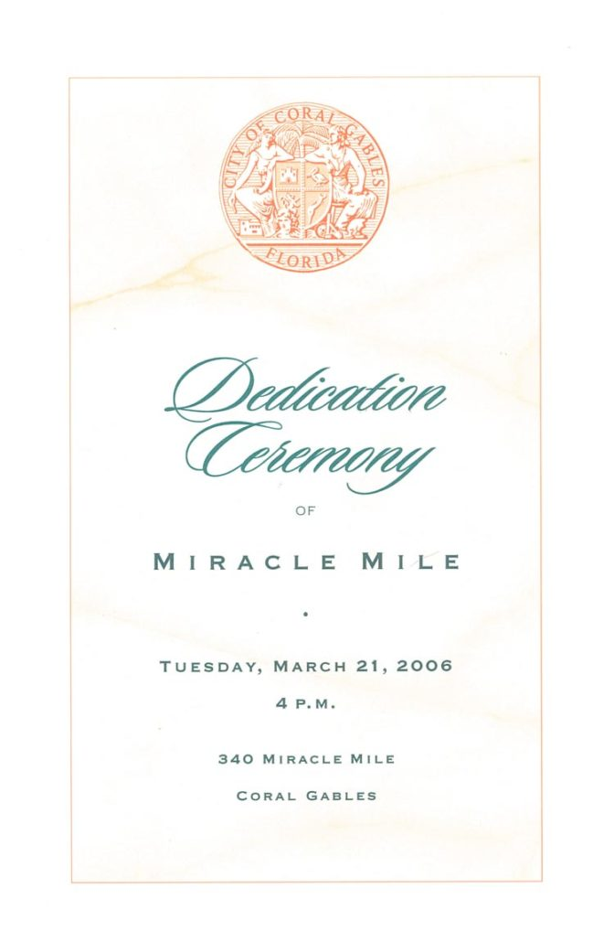 Program from the Miracle Mile Plaque Dedication, 2006. Courtesy of Margot B. Friedman.